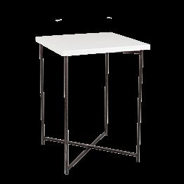 Mange-debout croisé acier plateau blanc 65 x 65 cm H 90 cm