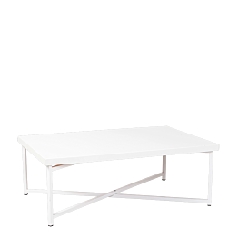 Table basse croisée blanche plateau blanc 64 x 101 cm H 35 cm