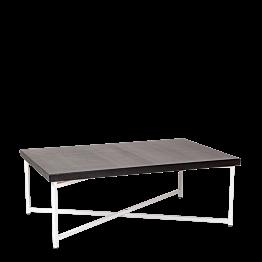 Table basse croisée blanche plateau noir 64 x 101 cm H 35 cm