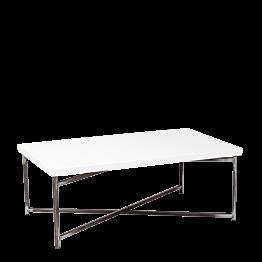 Table basse croisée acier plateau blanc 64 x 101 cm H 35 cm