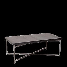 Table basse croisée acier plateau noir 64 x 101 cm H 35 cm