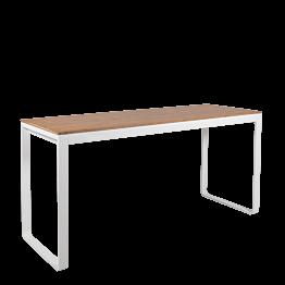 Table haute blanche plateau nature 80 x 230 cm H 110 cm