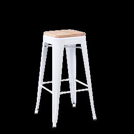 Tabouret industriel blanc assise bois H 78 cm