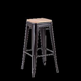 Tabouret industriel noir assise bois H 78 cm