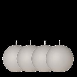 Lot de 4 bougies boule blanche Ø 8 cm