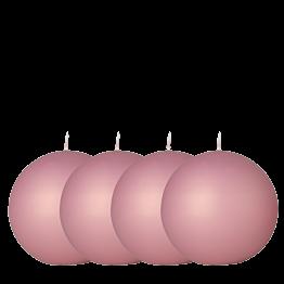 Lot de 4 bougies boule satinée vieux rose Ø 10 cm