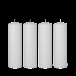 Lot de 4 bougies blanches cylindre Ø 6 cm H 20 cm