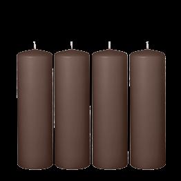Lot de 4 bougies satinées moka cylindre Ø 6 cm H 20 cm