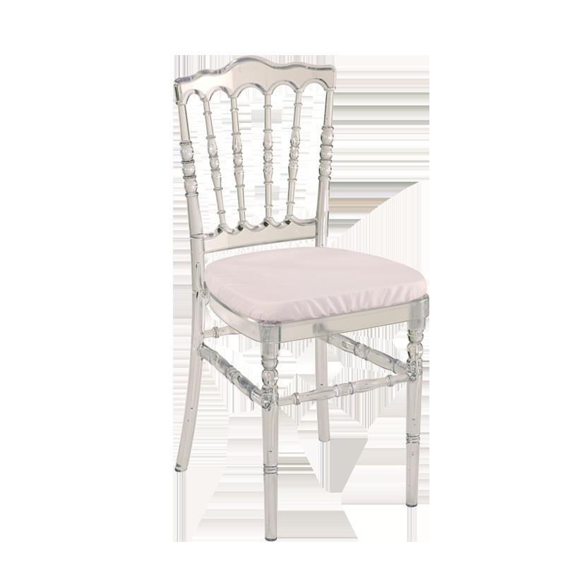Chaise Napoleon III Cristal Avec Coussin Blanc